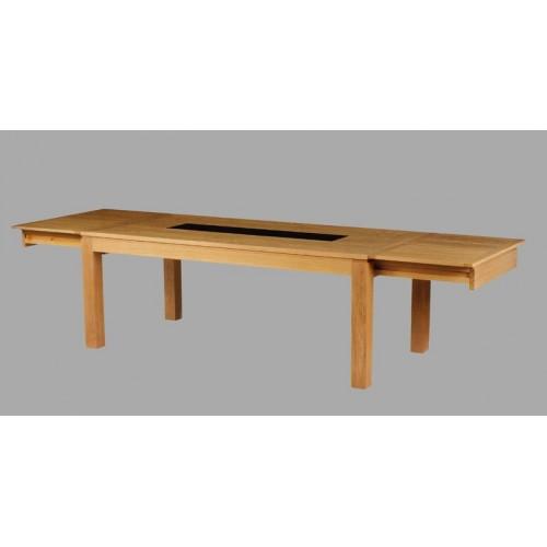 table rectangulaire arlequin avec verre meubles de normandie. Black Bedroom Furniture Sets. Home Design Ideas