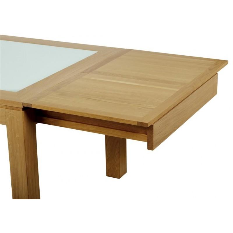 Table rectangulaire arlequin avec verre meubles de normandie - Table verre rectangulaire ...