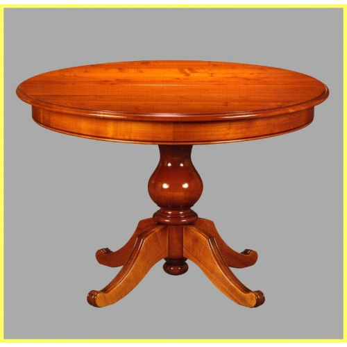 Table ronde n 1 pied central merisier meubles de normandie - Table ronde marbre pied central ...