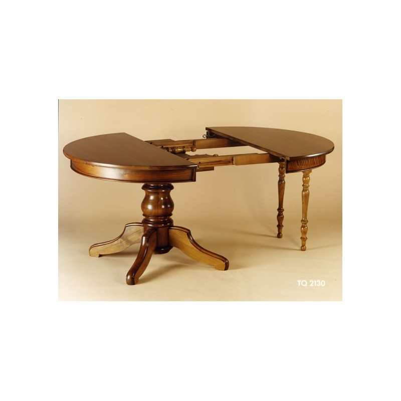 Table ronde pied central en noyer meubles de normandie for Table pied central