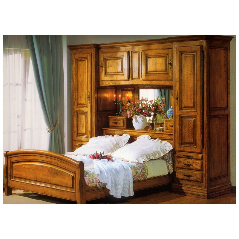 lit pont campagnard antique en ch ne meubles de normandie. Black Bedroom Furniture Sets. Home Design Ideas