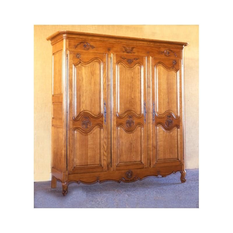 armoire 3 portes marguerite en ch ne meubles de normandie. Black Bedroom Furniture Sets. Home Design Ideas