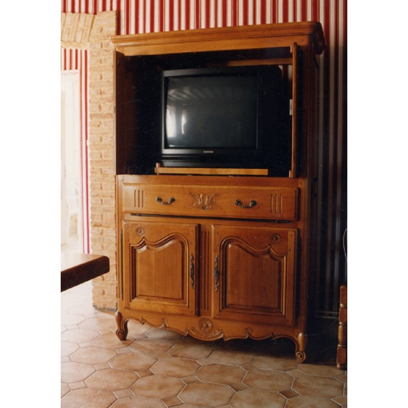 meuble tv 4 portes marguerite en ch ne meubles de normandie. Black Bedroom Furniture Sets. Home Design Ideas