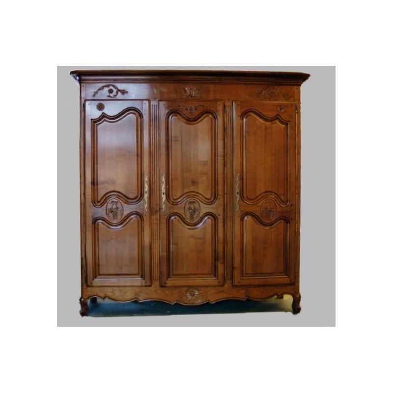 Armoire 3 portes marguerite en merisier meubles de normandie for Porte normande