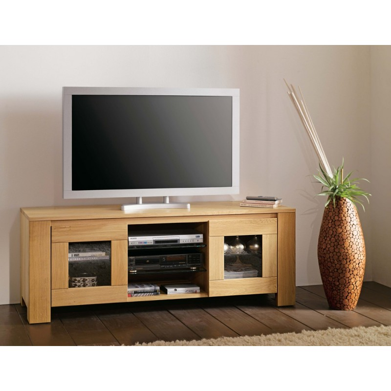 Meuble tv bas long maison design for Meuble bas pour tele